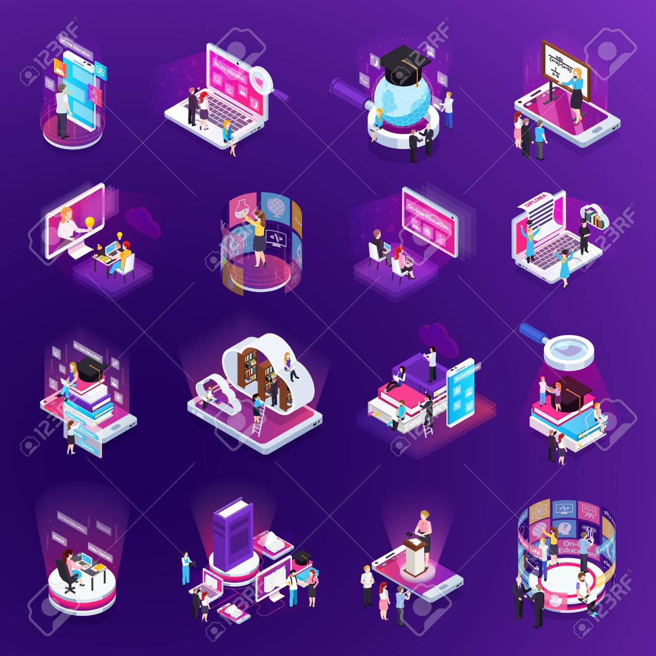 E-learning online training education virtual library distant tutors glow isometric icons set purple background vector illustration - 114796812