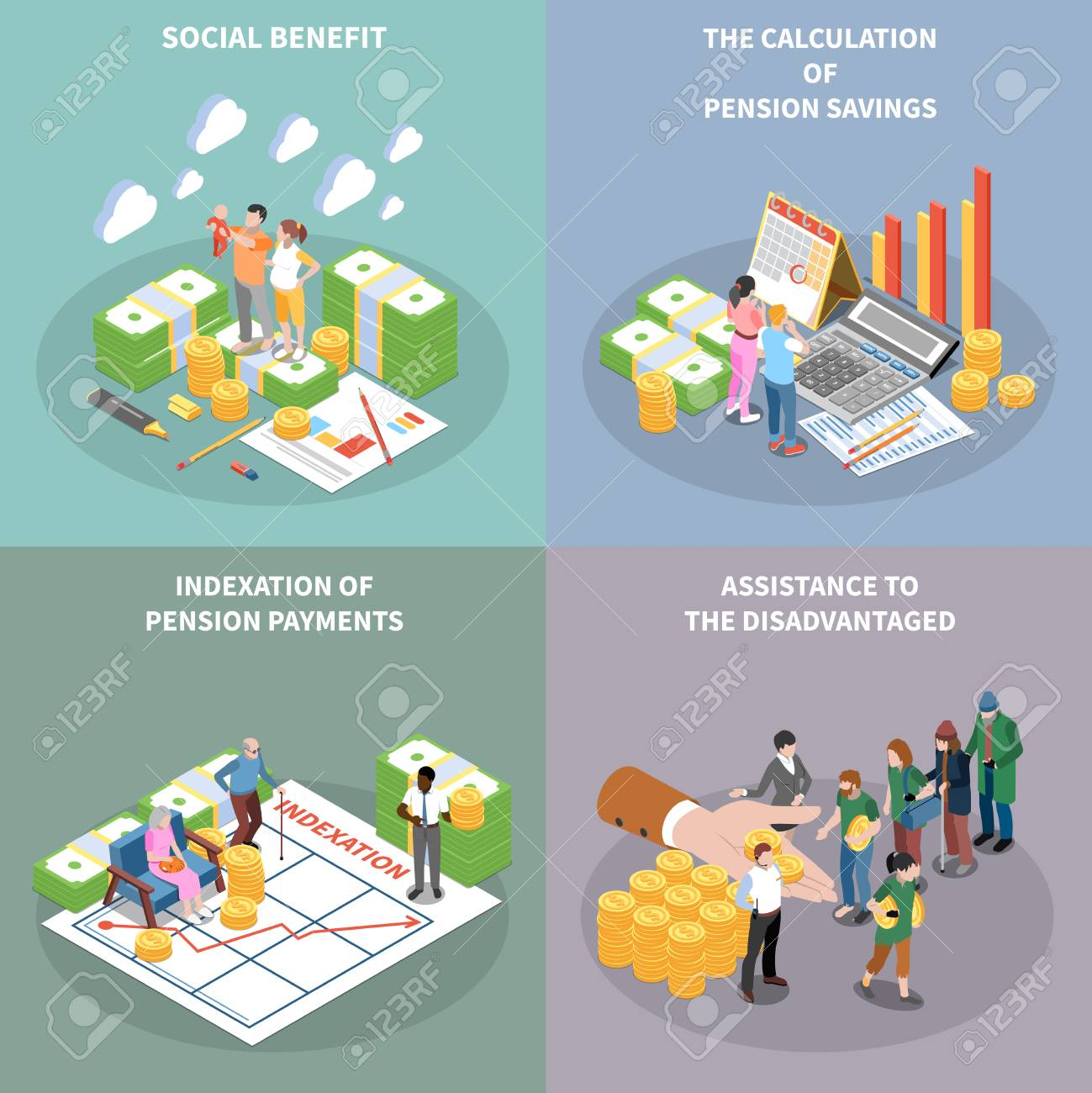 Social security unemployment benefits unconditional income isometric 2x2 design concept with banknote bundles people and text vector illustration - 126478160