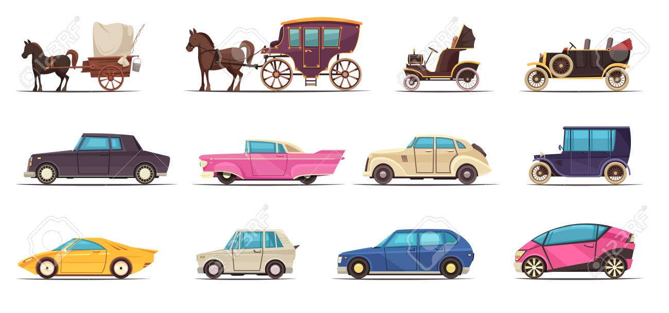 Set of icons old and modern ground transportation including various cars and horse carriages isolated vector illustration - 115072532