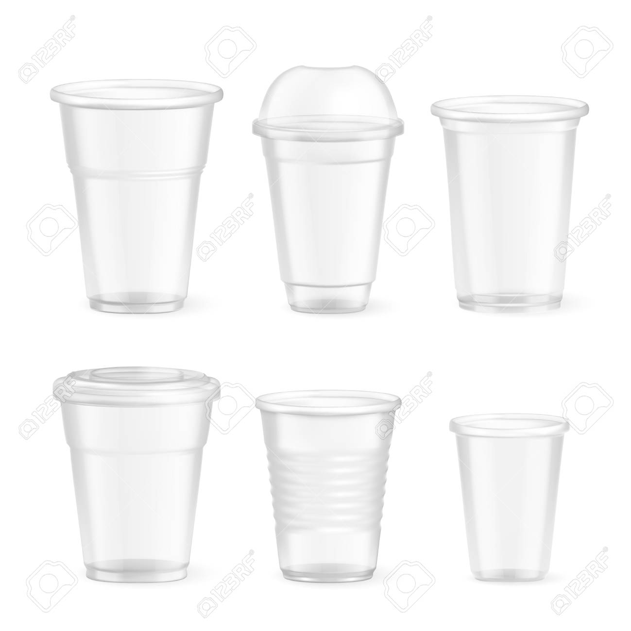 Set of realistic plastic disposable food glasses of various size on white background isolated vector illustration - 126337855