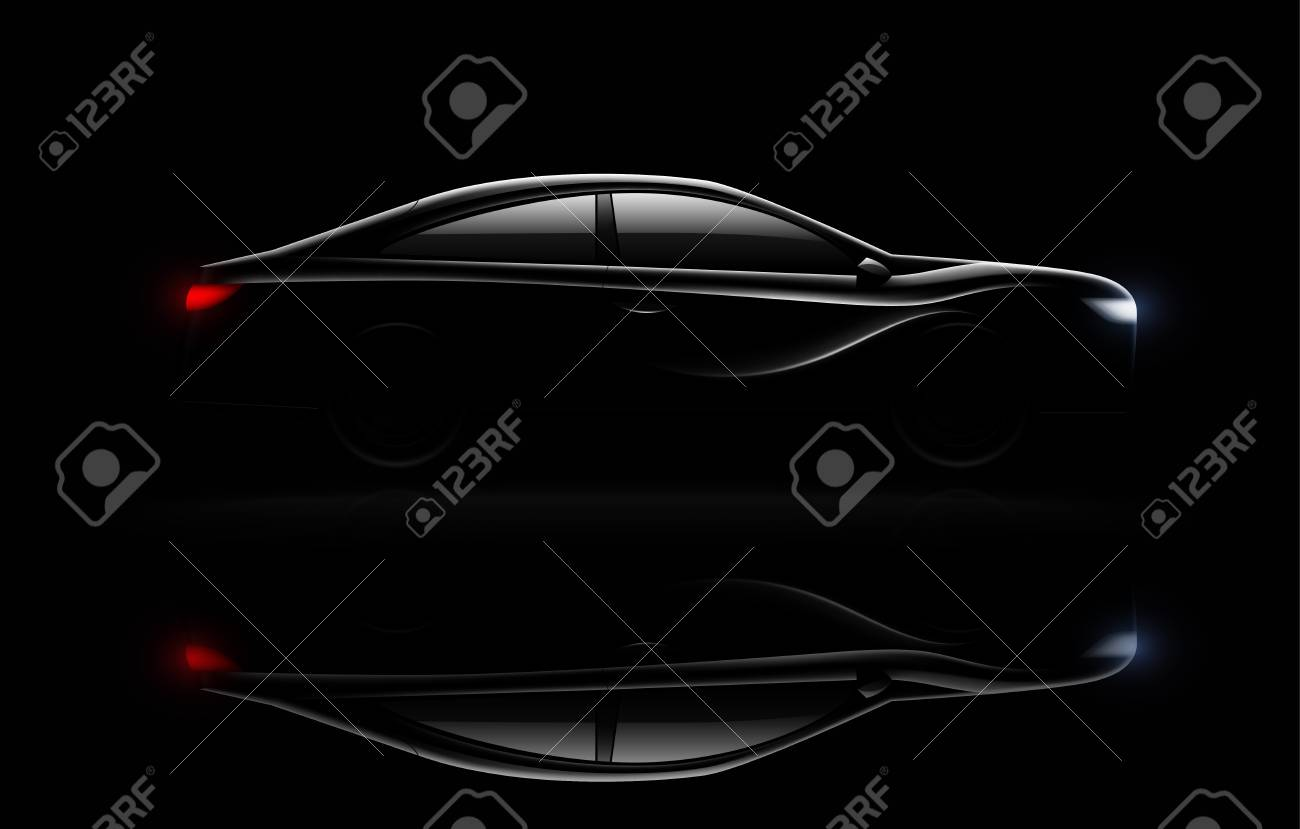 Lightened luxury sedan car in darkness with headlamps and rear lights lit realistic image reflection vector illustration - 115072573