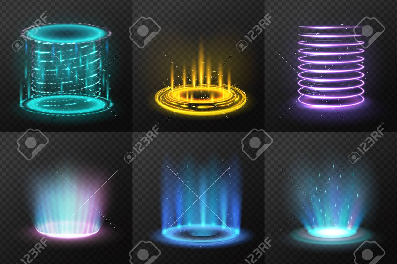 Set of realistic colorful magic portals with light streams on dark transparent background isolated vector illustration - 115072653