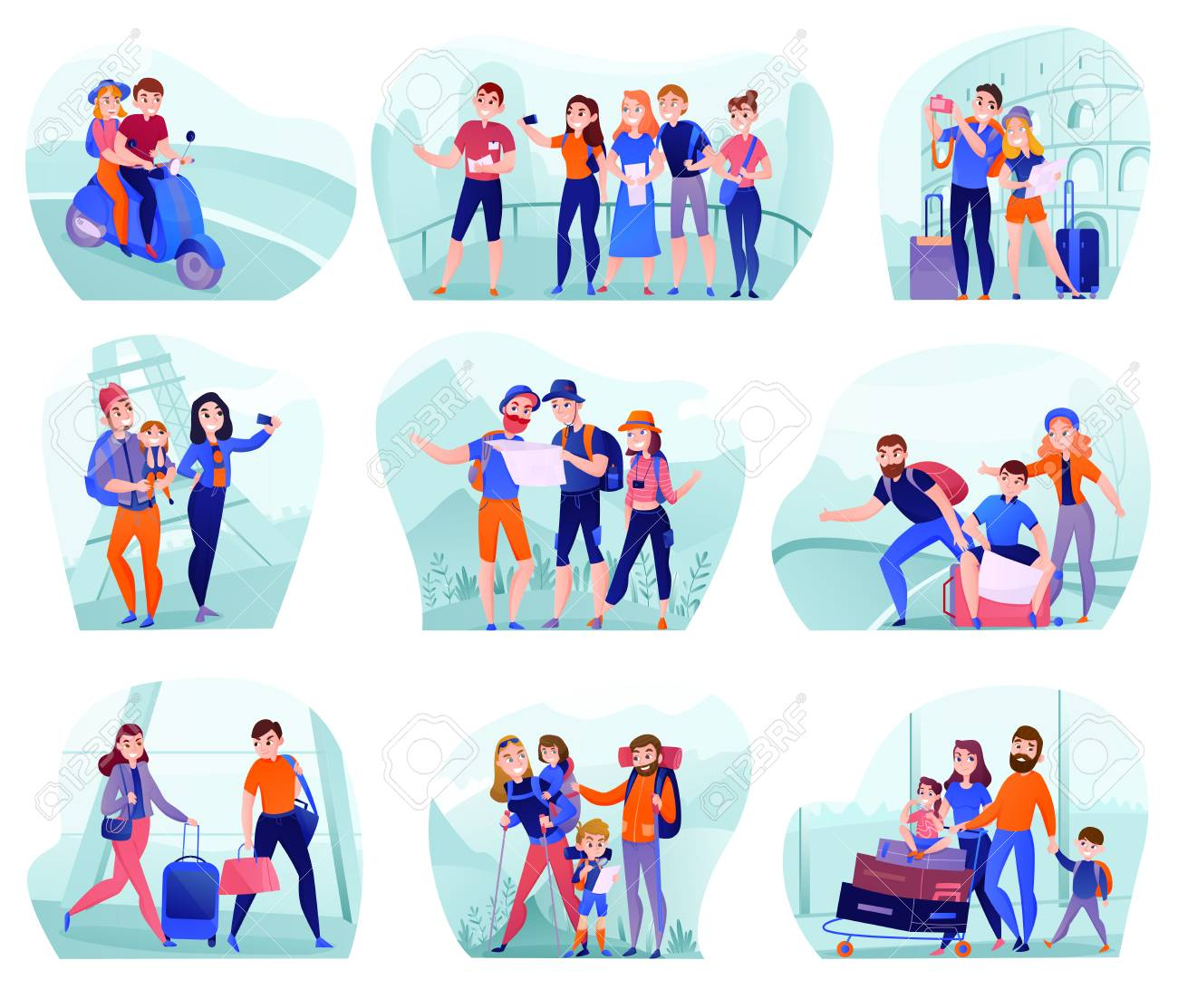 Set of compositions with travelers in various activity with luggage and tourist equipment isolated vector illustration - 115370197