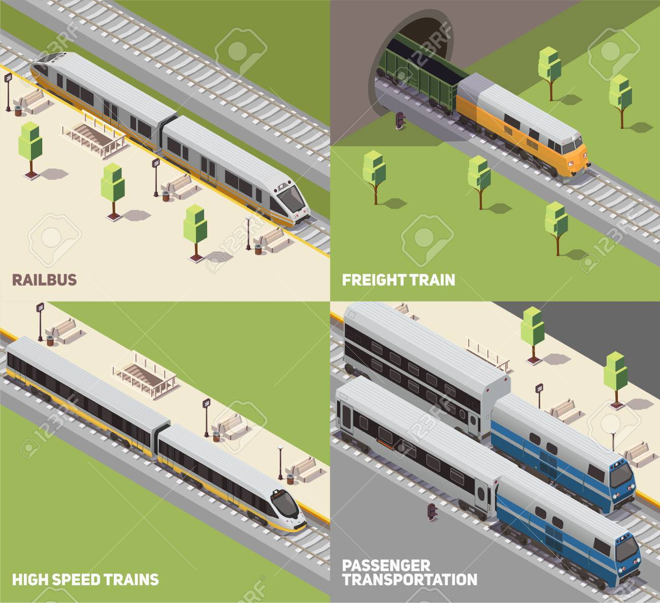 Railbus freight cargo and high speed trains passenger transportation concept 4 isometric icons set isometric vector illustration - 115370202