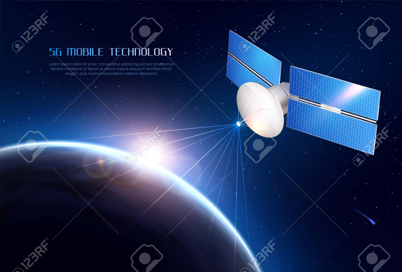 Mobile technology realistic background with communications satellite in space sending signal to different points of earth vector illustration - 115370335