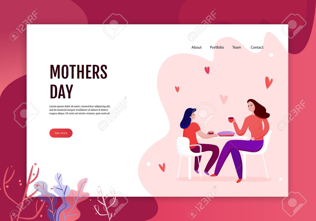 Mothers day concept of web banner with mom and daughter during eating of festive pie vector illustration - 116212042