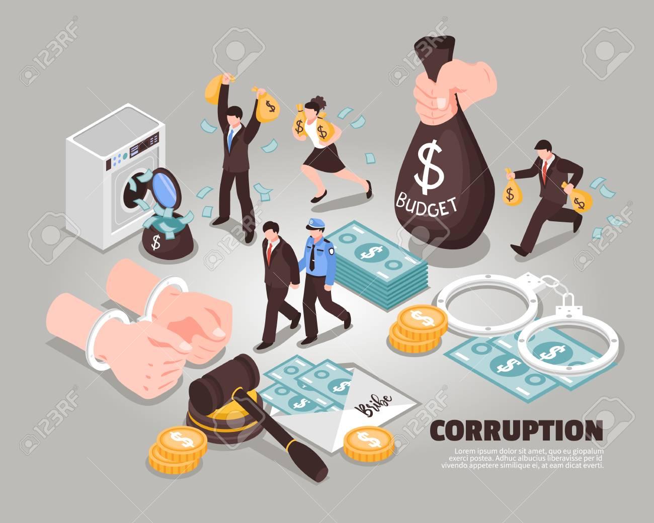 Corruption isometric vector illustration Included icons symbolizing laundering bribery embezzlement corrupt judge corrupt politician - 116212168
