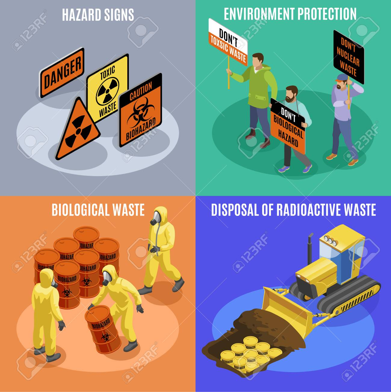 Toxic biological and radioactive waste 4 isometric icons concept with environment protection activists hazard signs vector illustration - 116679554