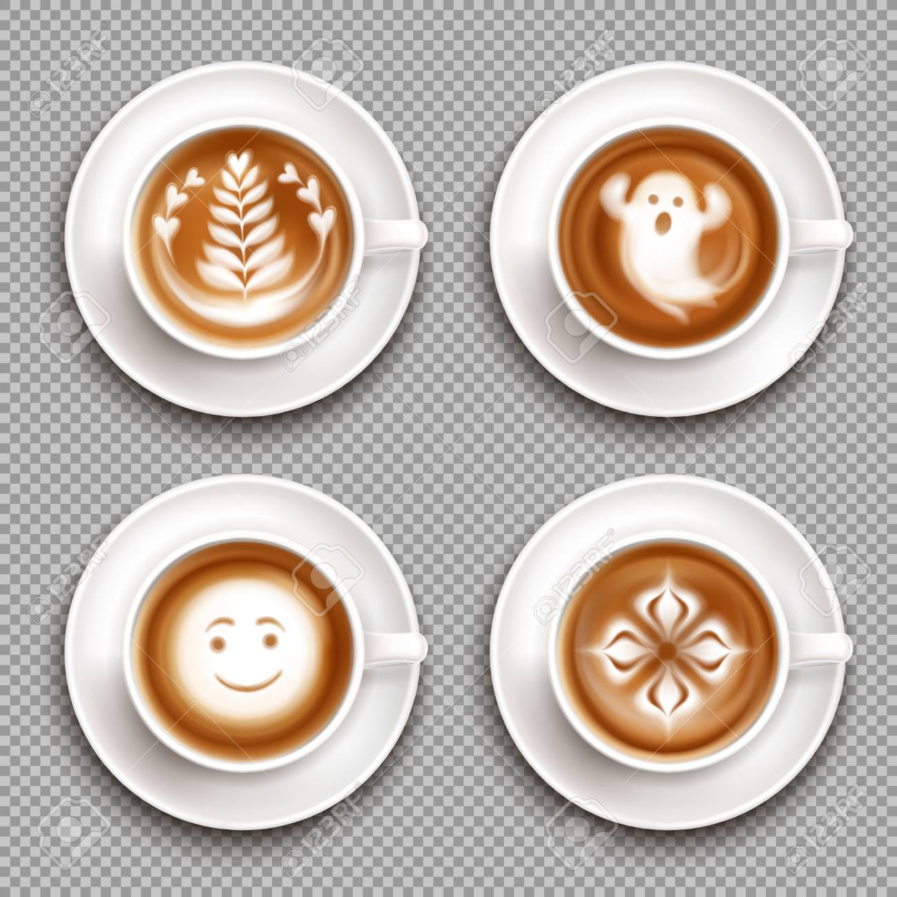 Colored Latte Art Top View Icon Set With Art In Mugs And Transparent Royalty Free Cliparts Vectors And Stock Illustration Image 117044338