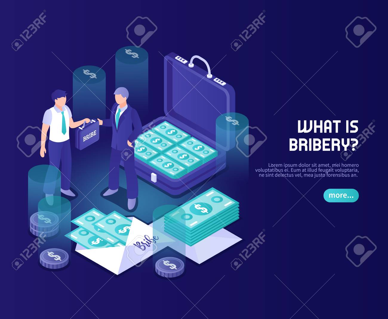 What is bribery abstract color background with businessman official and briefcase with money isometric vector illustration - 117444801