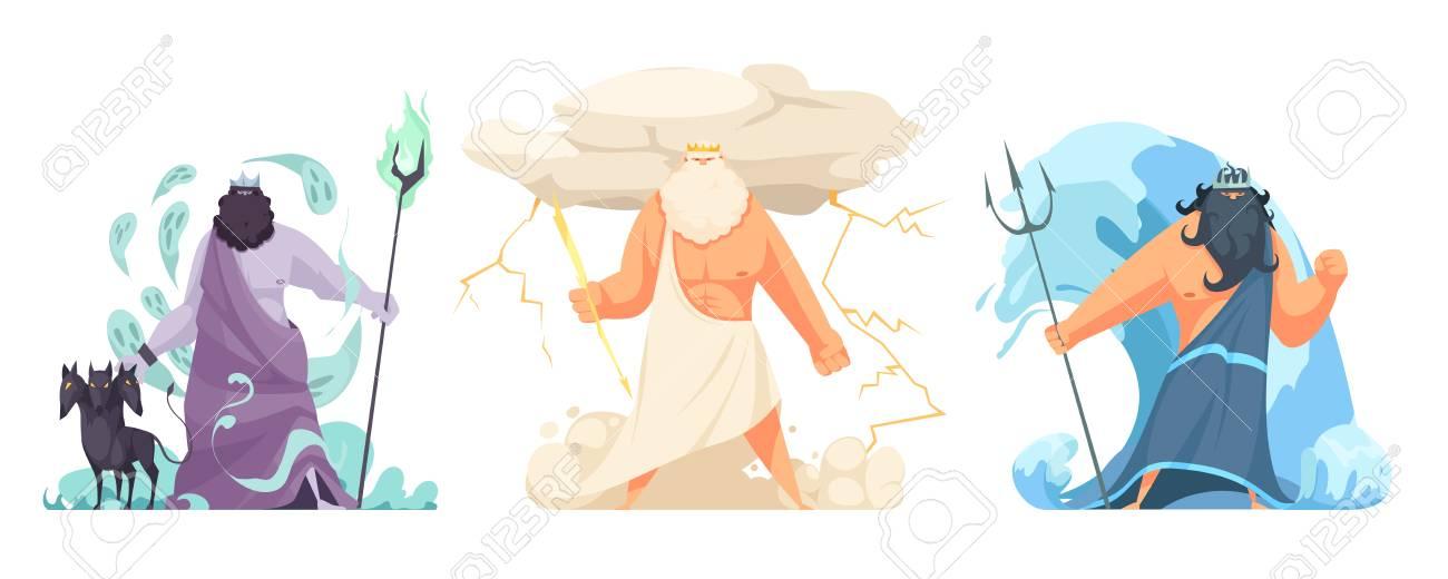 Three powerful ancient greek brothers gods horizontal set with hades zeus and poseidon cartoon isolated vector illustration - 117444830