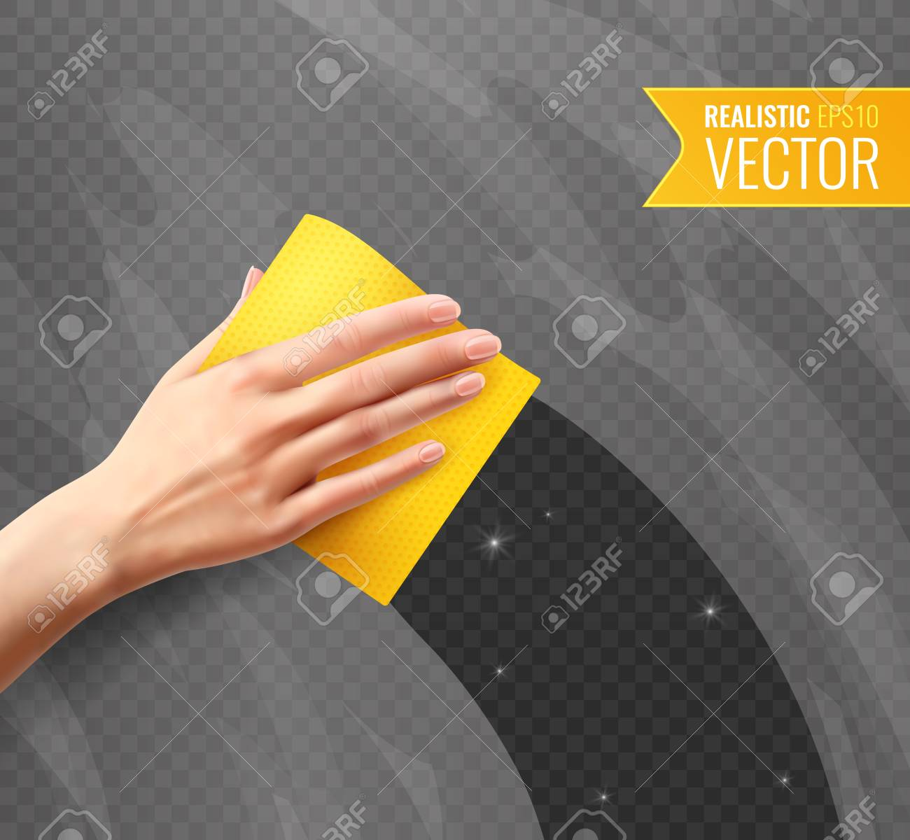 Woman hand wiping dirty glass with yellow napkin transparent background in realistic style vector illustration - 117444961