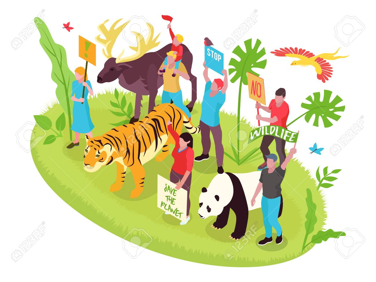 Wildlife protection isometric concept with people nature and animals vector illustration - 124889930
