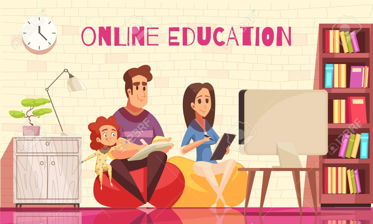 Learning Home Distant Education For Family With Kids Cartoon Royalty Free Cliparts Vectors And Stock Illustration Image 117893839