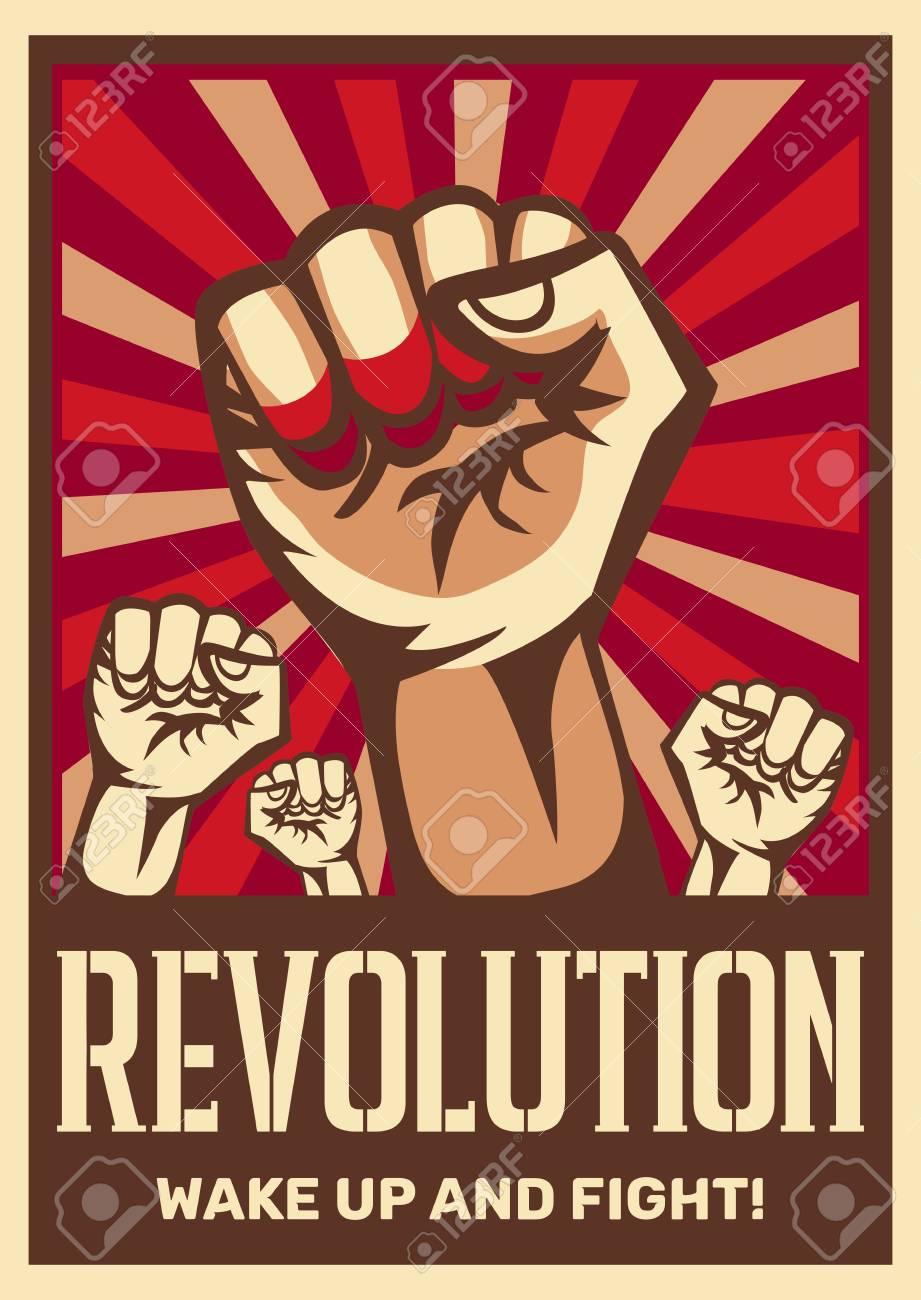 Raised fist vintage constructivist revolution communism promoting poster symbolizing unity solidarity with oppressed people fight vector illustration - 117893901