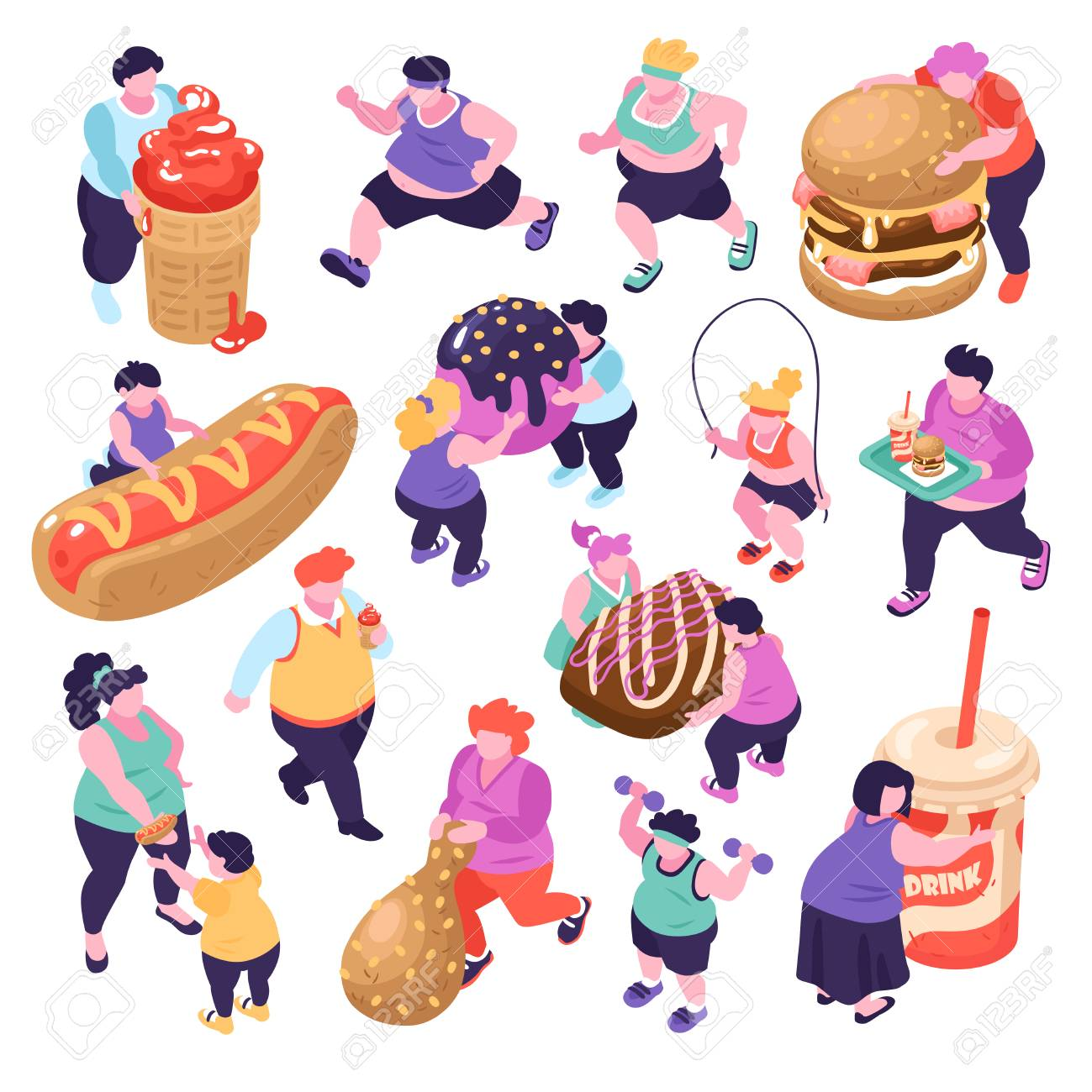 Men and women suffering from gluttony and doing sports isometric icons set isolated on white background 3d vector illustration - 124733516