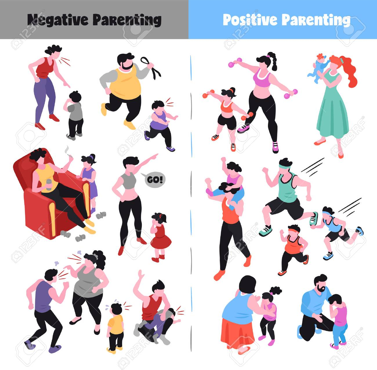 Parenting isometric icons set depicting positive and negative ways of raising children 3d isolated vector illustration - 124733520