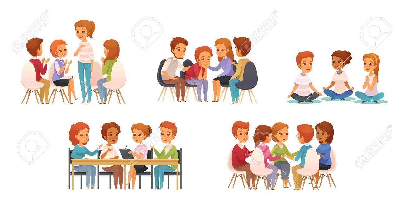Group therapy cartoon icon set with group of three or four children vector illustration - 124315328