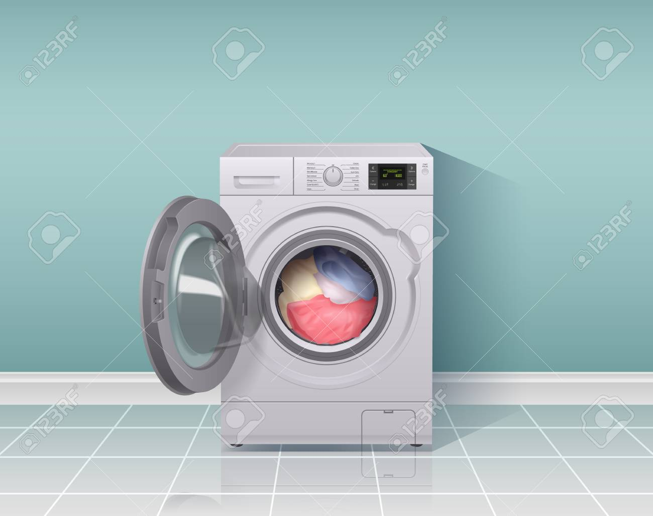Washing machine realistic composition with housework equipment symbols vector illustration - 119057830