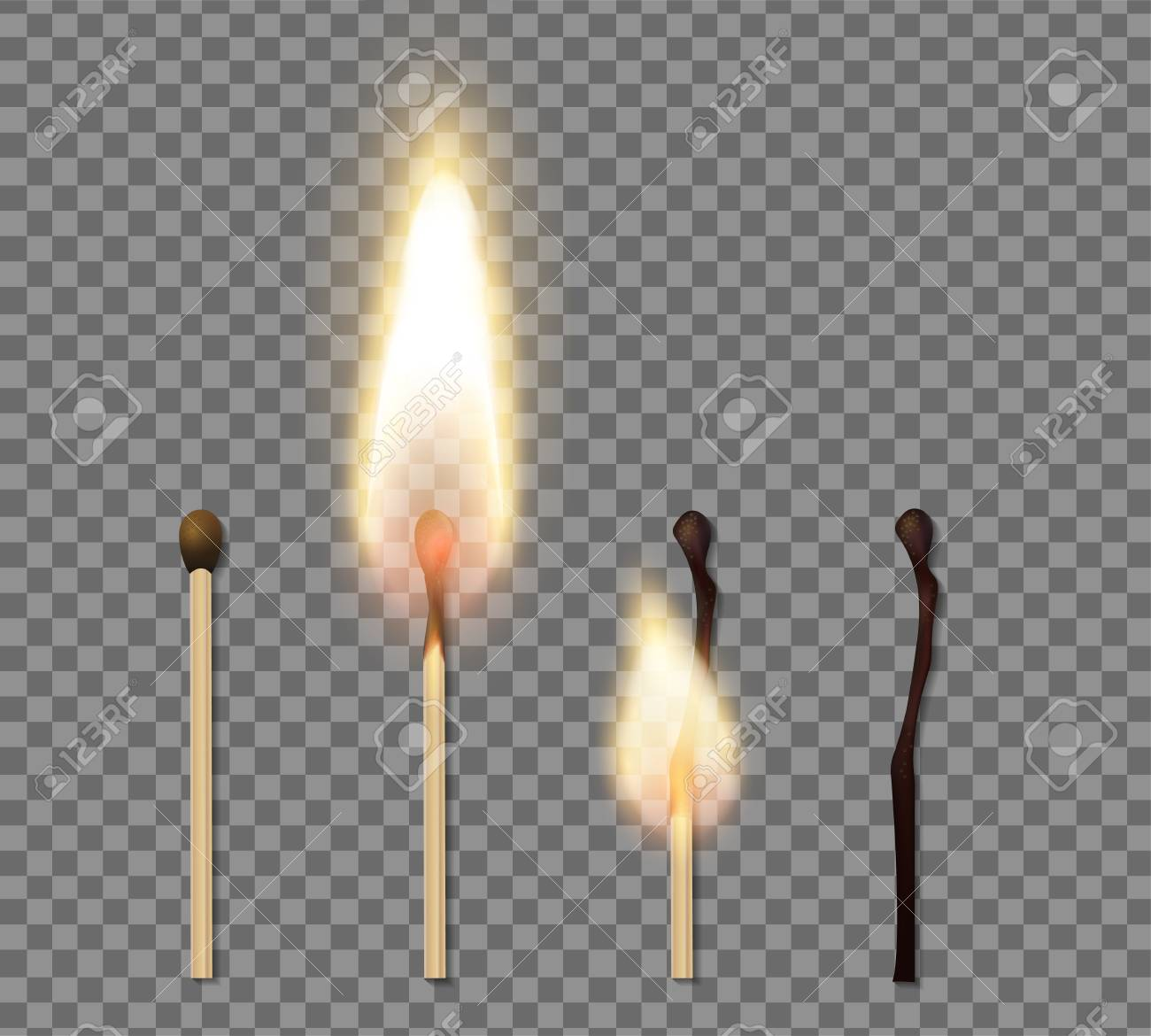 Realistic match stick flame icon set with four steps of burning match vector illustration - 119216967