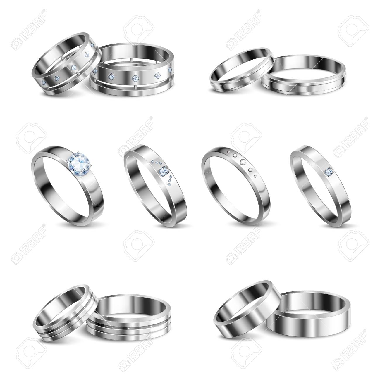 White gold platina noble metals wedding rings 6 realistic isolated sets jewelry shadow neutral background vector illustration - 119530542