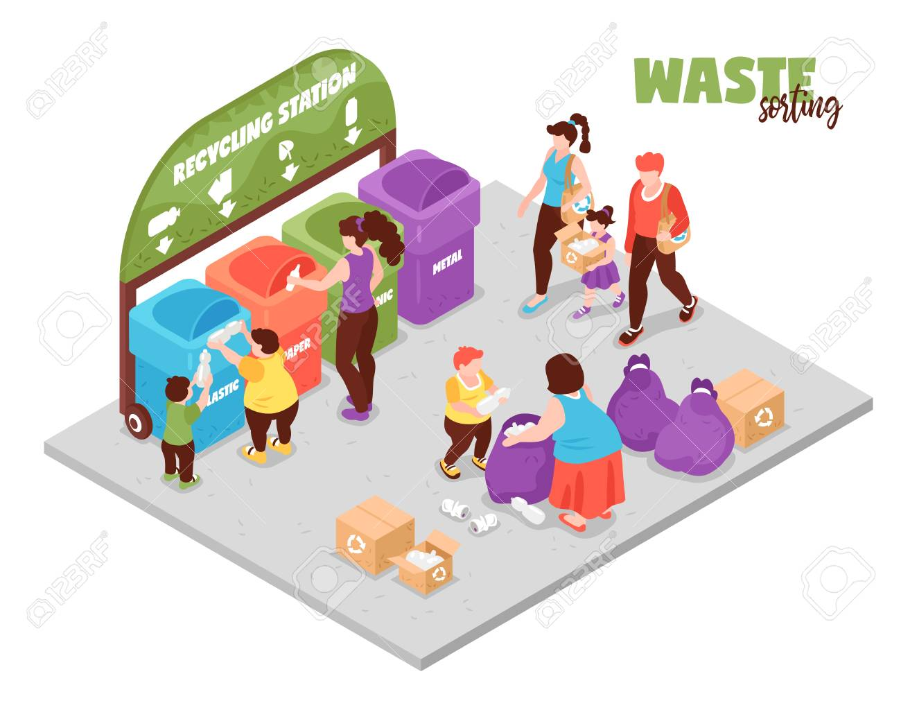 People having zero waste lifestyle and sorting garbage at recycling station 3d isometric vector illustration - 119846450