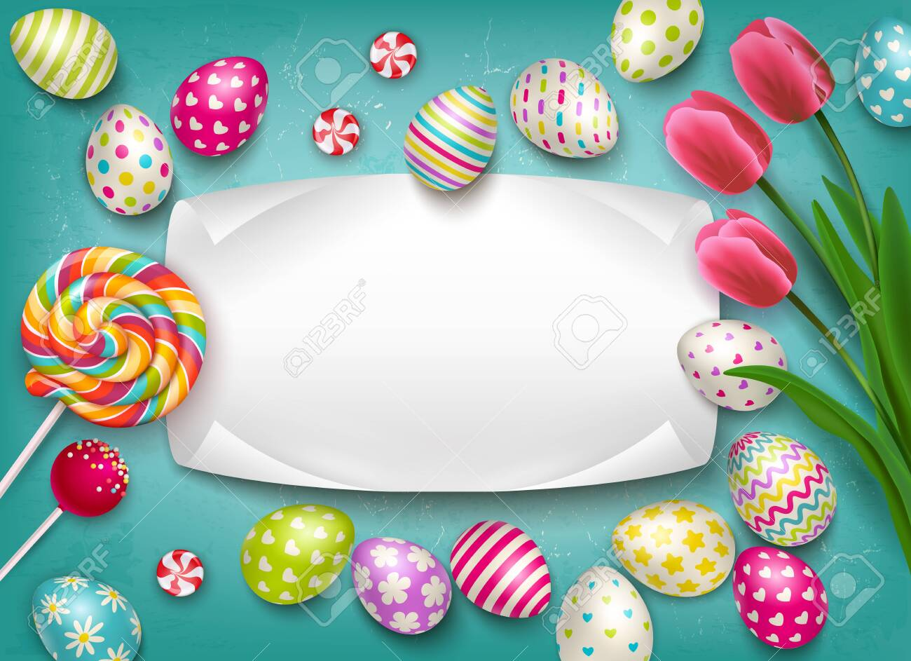 Easter composition with images of colored festive eggs lollipop sweets and flowers with empty text frame vector illustration - 124236107