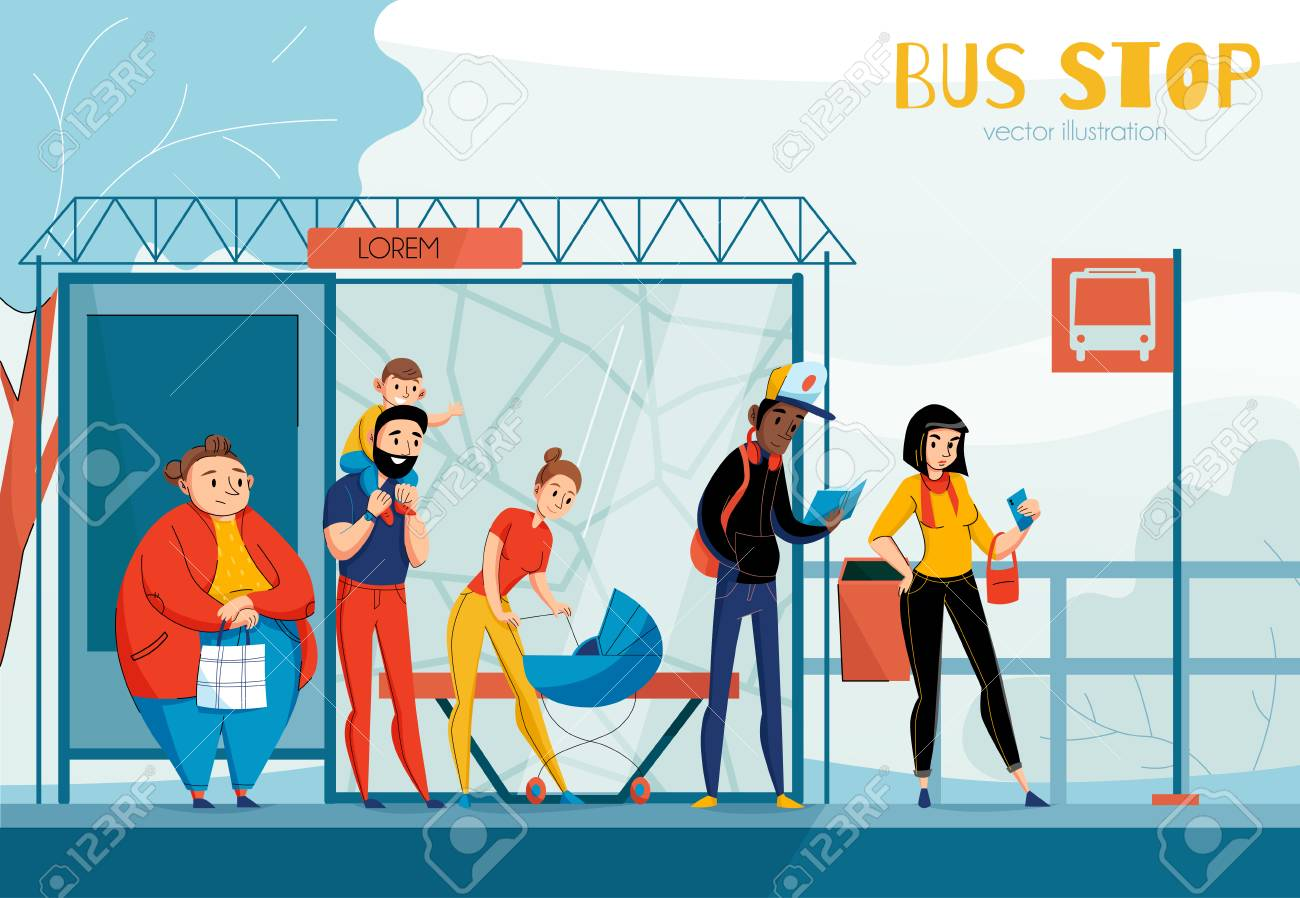 Queue people bus station composition with different status and age people vector illustration - 119642137