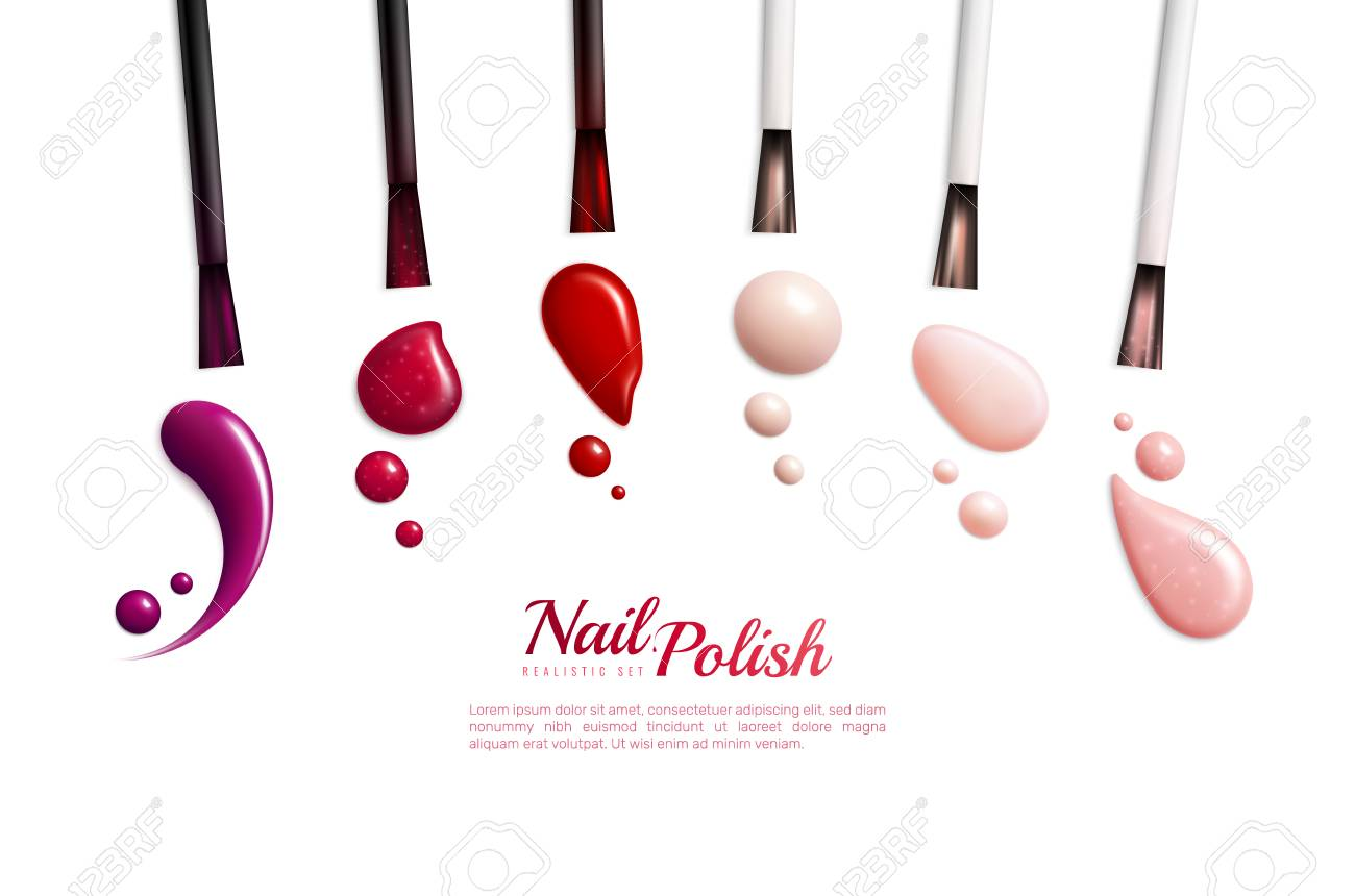 Nail polish smears realistic isolated icon set with different colors and styles vector illustration - 124138718