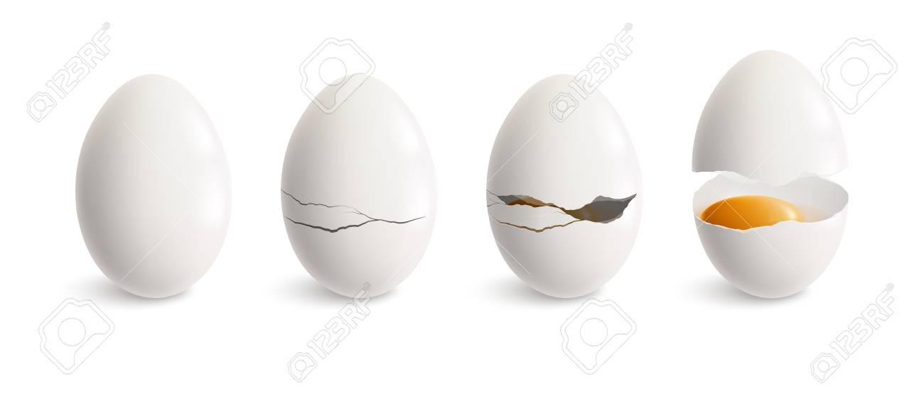 Cracking egg realistic icon set white egg and four steps of crackling vector illustration - 119846599