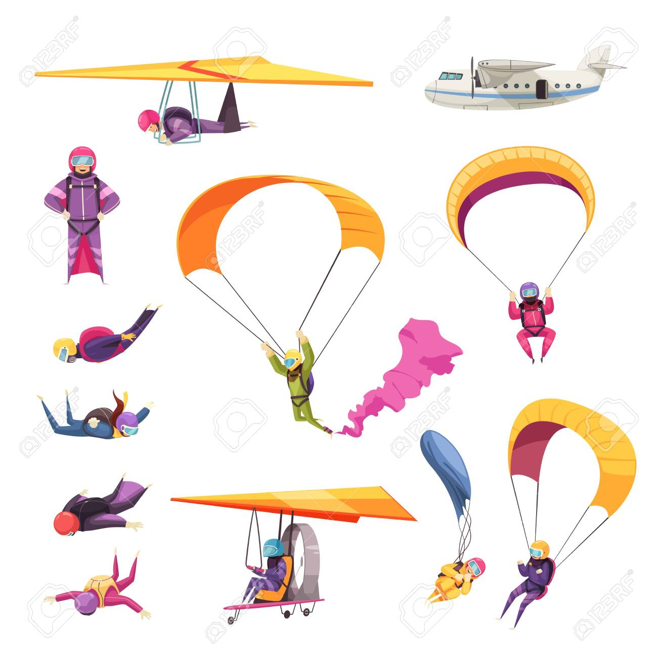 Skydiving extreme sport elements flat icons collection with parachute jump free fall airplane glider isolated vector illustration - 123522974