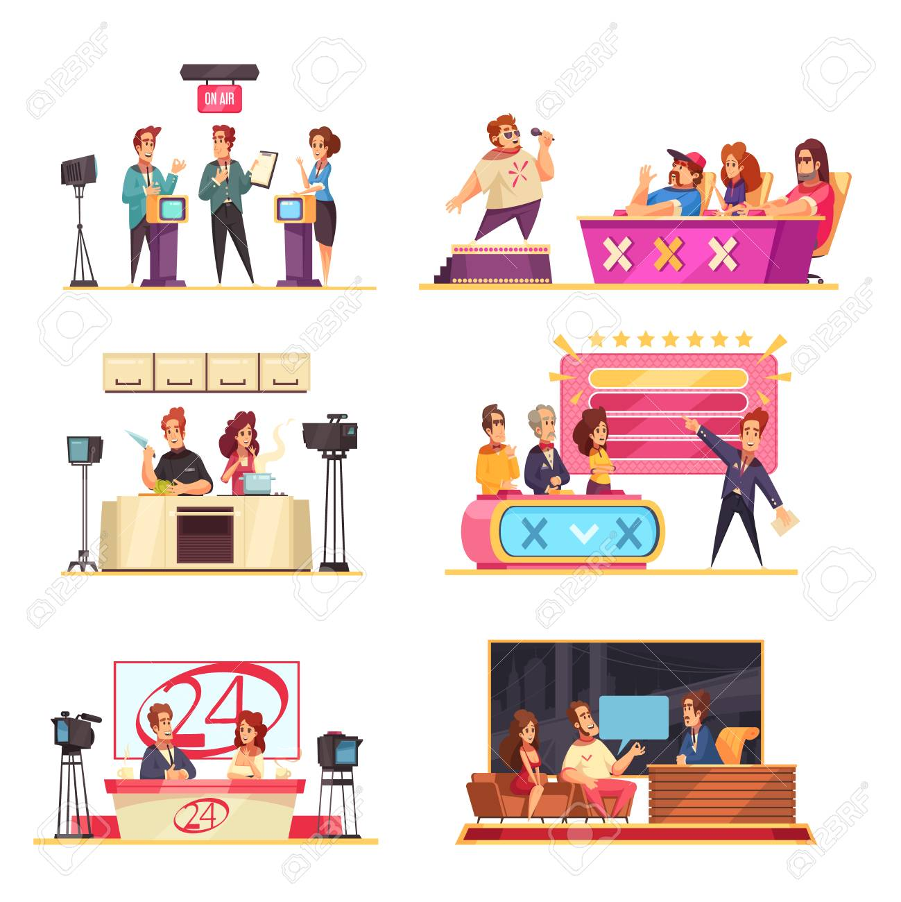 Television game show 6 cartoon compositions with hosts contestants solving puzzles answering questions singer jury vector illustration - 123522979