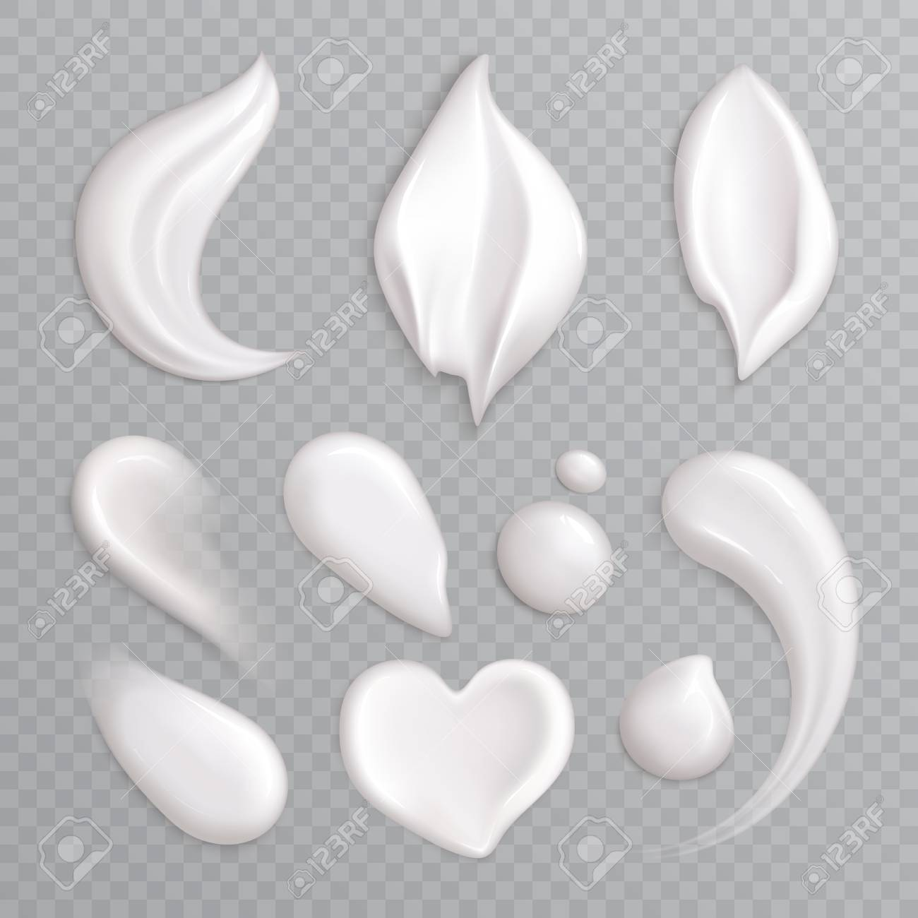 Cosmetic cream smears realistic icon set with white isolated elements different shapes and sizes vector illustration - 120960263