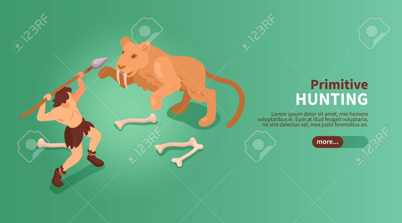 Isometric primitive people caveman banner with text slider button images of human and sabre toothed tiger vector illustration - 121310515