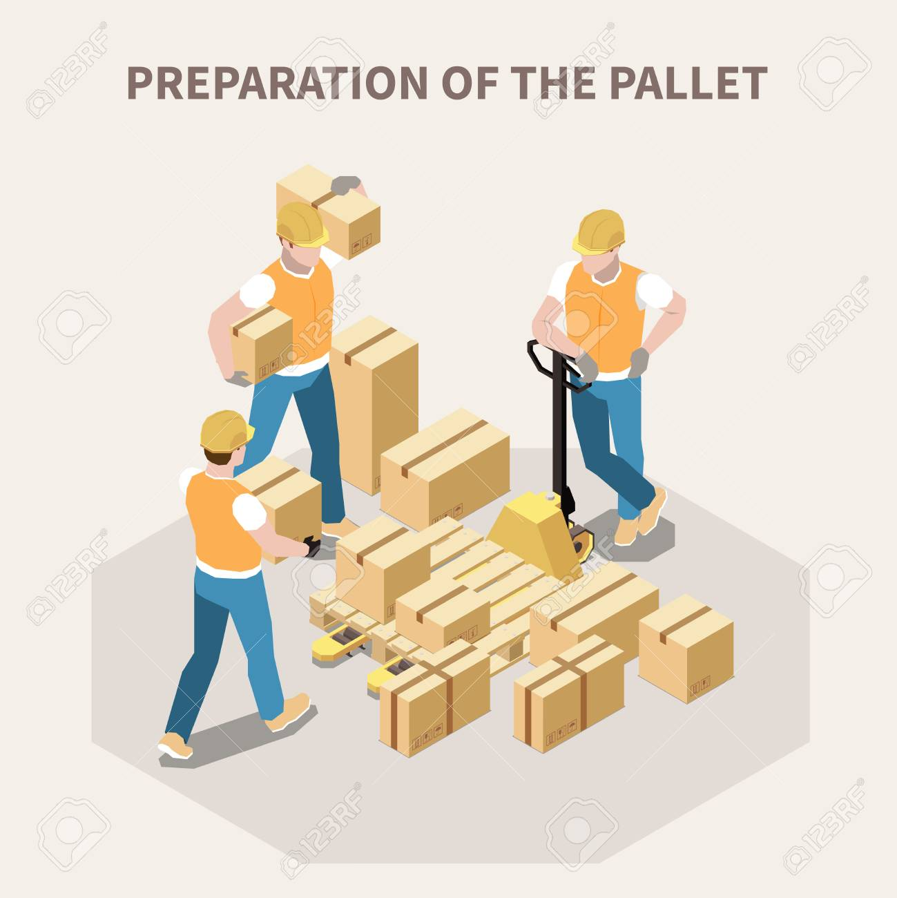 Warehouse workers putting cardboard boxes on wooden pallet 3d isometric vector illustration - 121388858