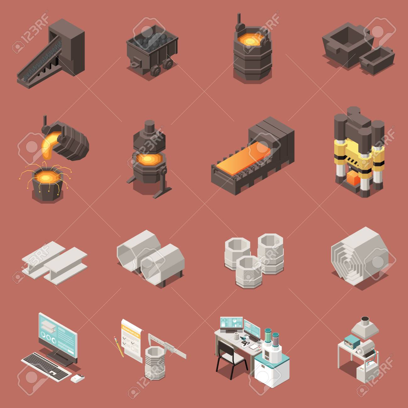 Isometric icons set with metal industry equipment 3d isolated vector illustration - 123074122