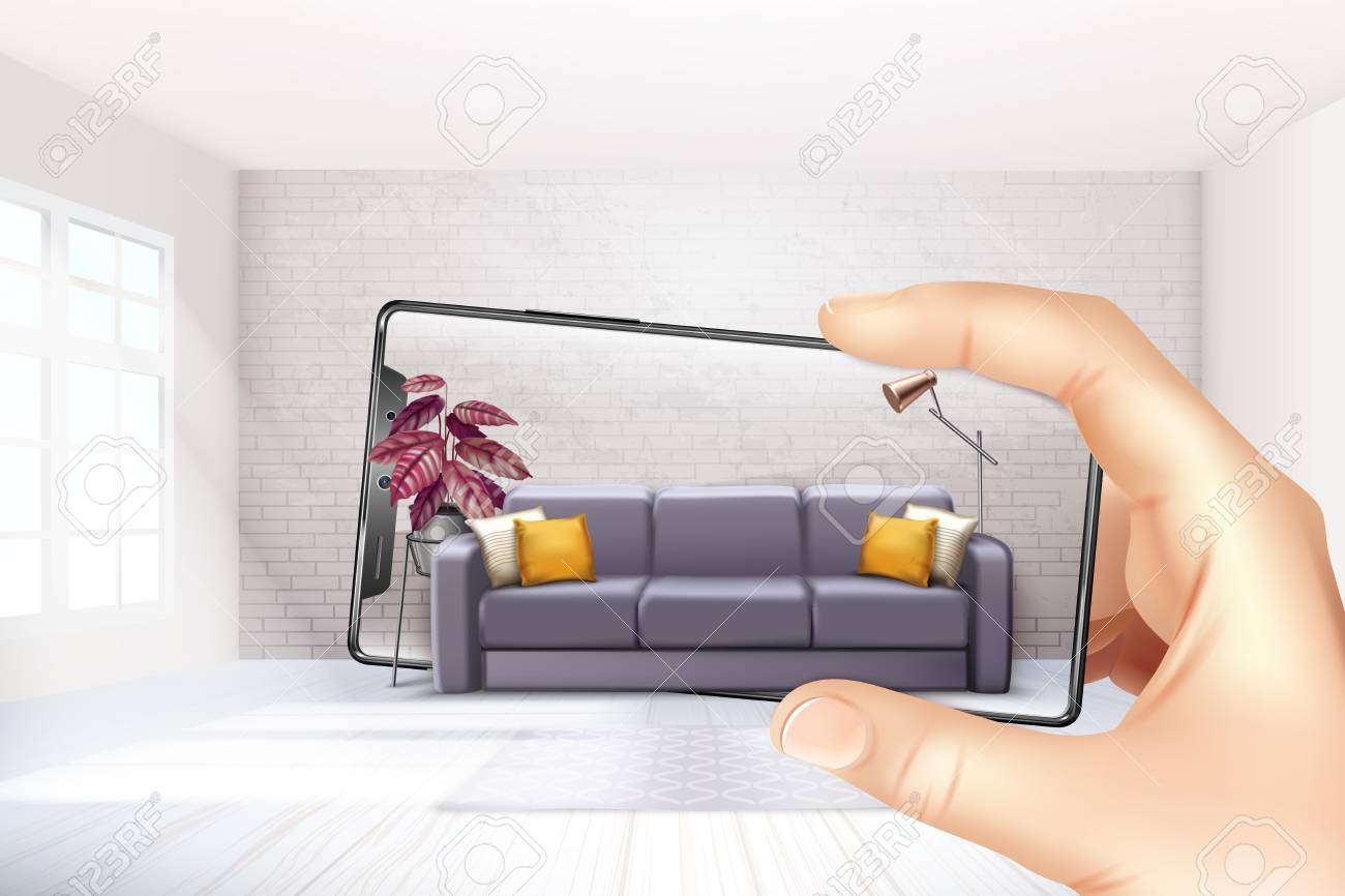 Smartphone augmented virtual reality interior application apps choosing sofa experience for touch screen realistic composition vector illustration - 122860944