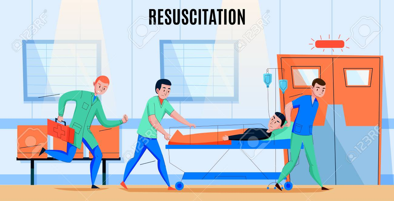 Ambulance paramedics crew rushing injured patient to hospital emergency department resuscitation area flat composition vector illustration - 121761506