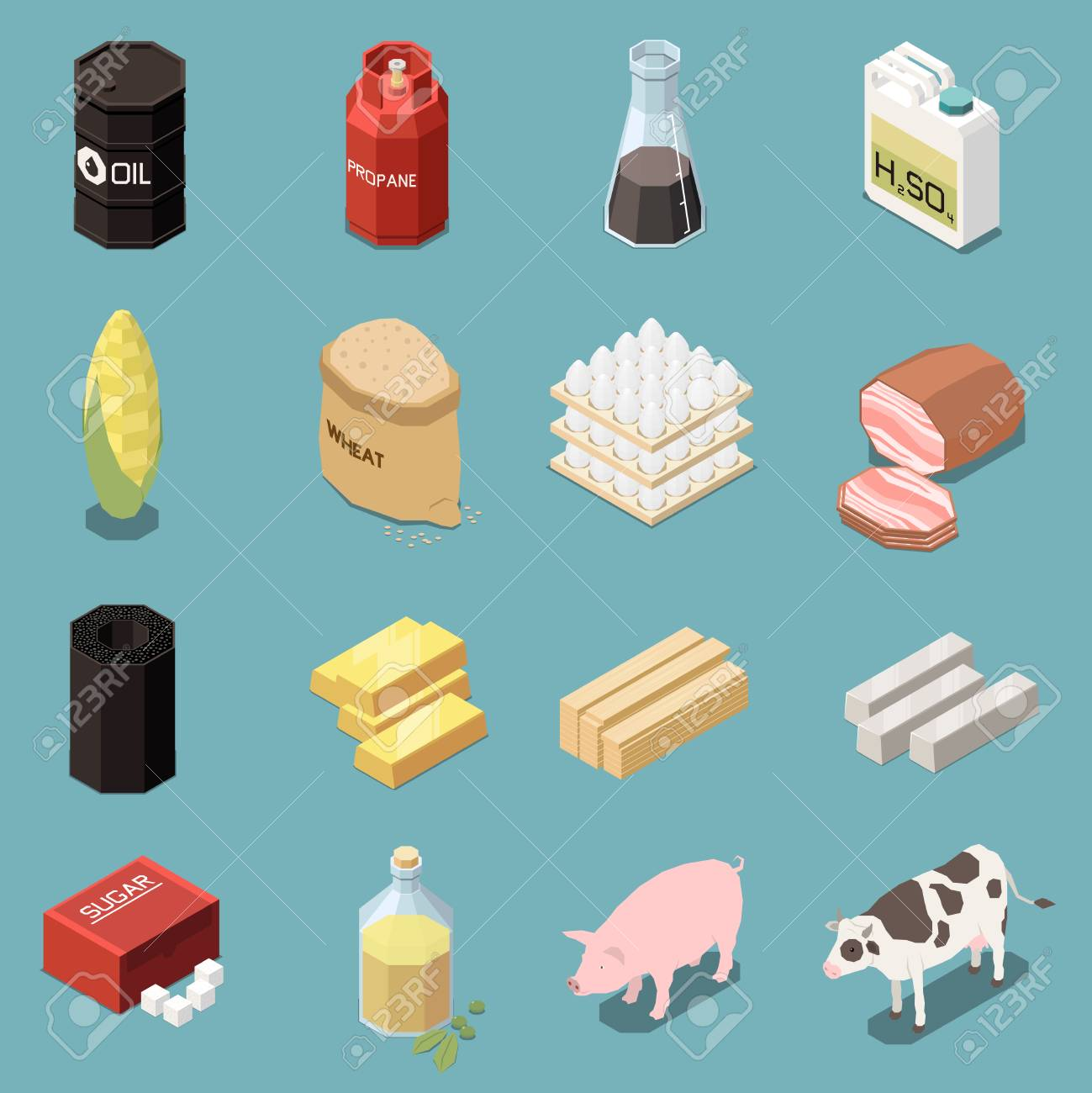 Commodity icons isometric collection of sixteen images with industrial..