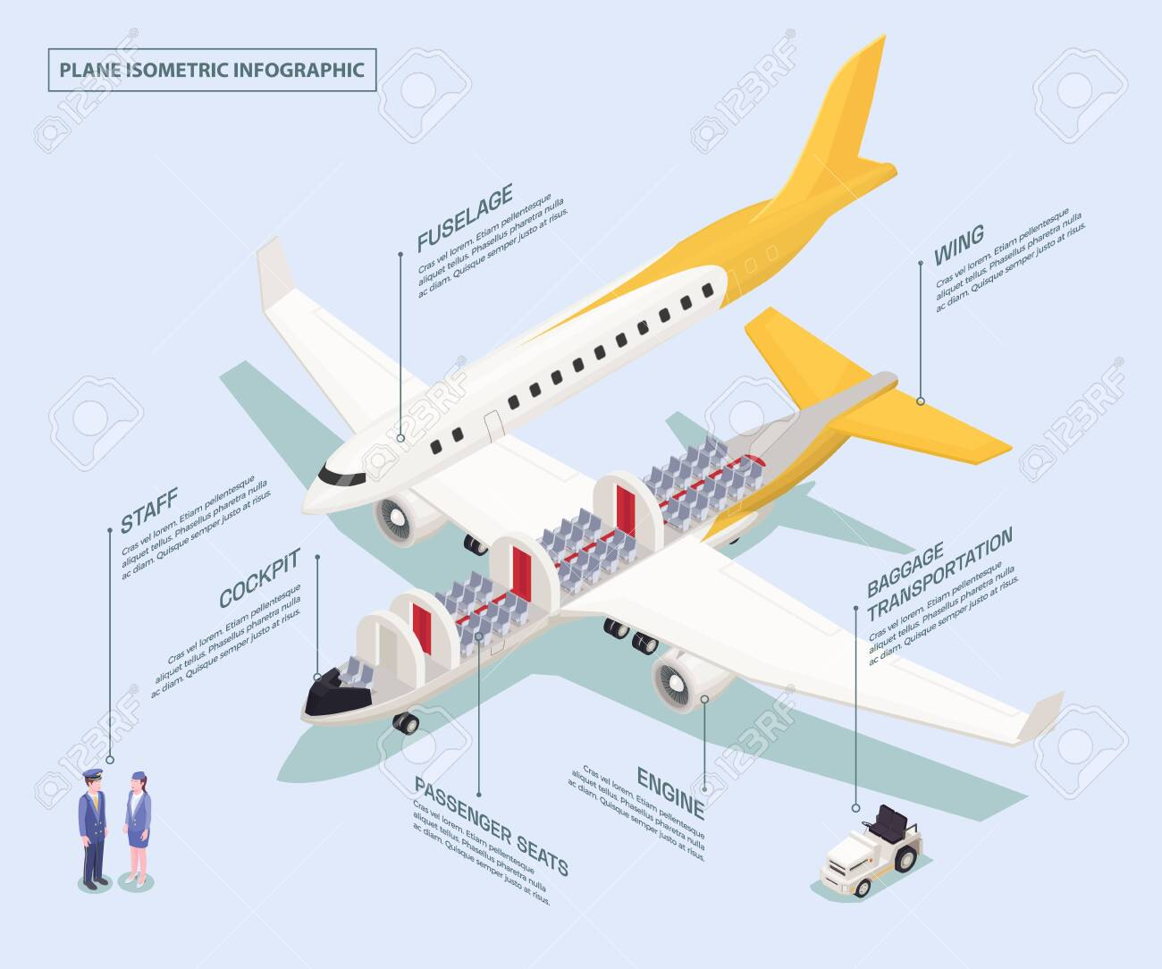 Airport isometric composition with schematic view of aircraft.. on