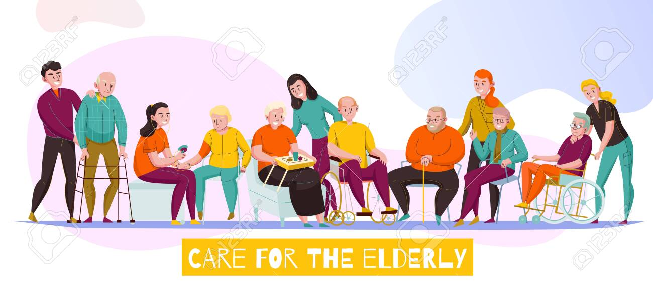 Nursery home senior care facilities for elderly disabled residents daily activities assistance flat horizontal banner vector illustration - 126115713