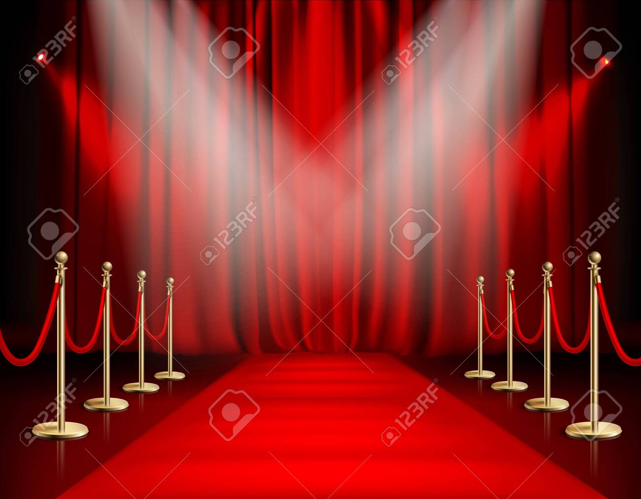 Awards show red background with carpet path golden barrier with rope on both sides and closed curtain realistic vector illustration - 128161156