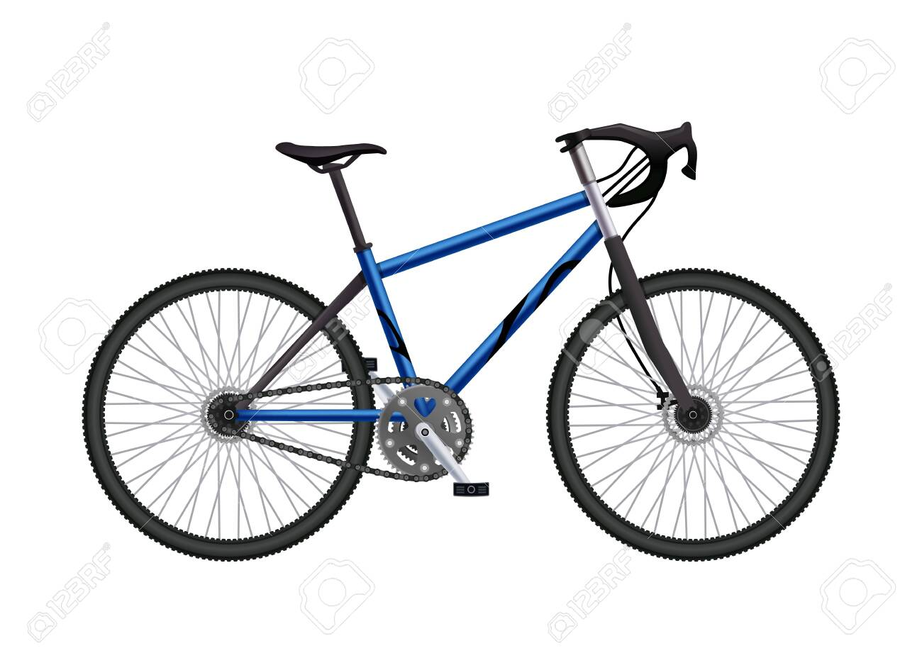 Realistic bicycle parts composition with isolated image of built-up mtb hardtail bike on blank background vector illustration - 128161176