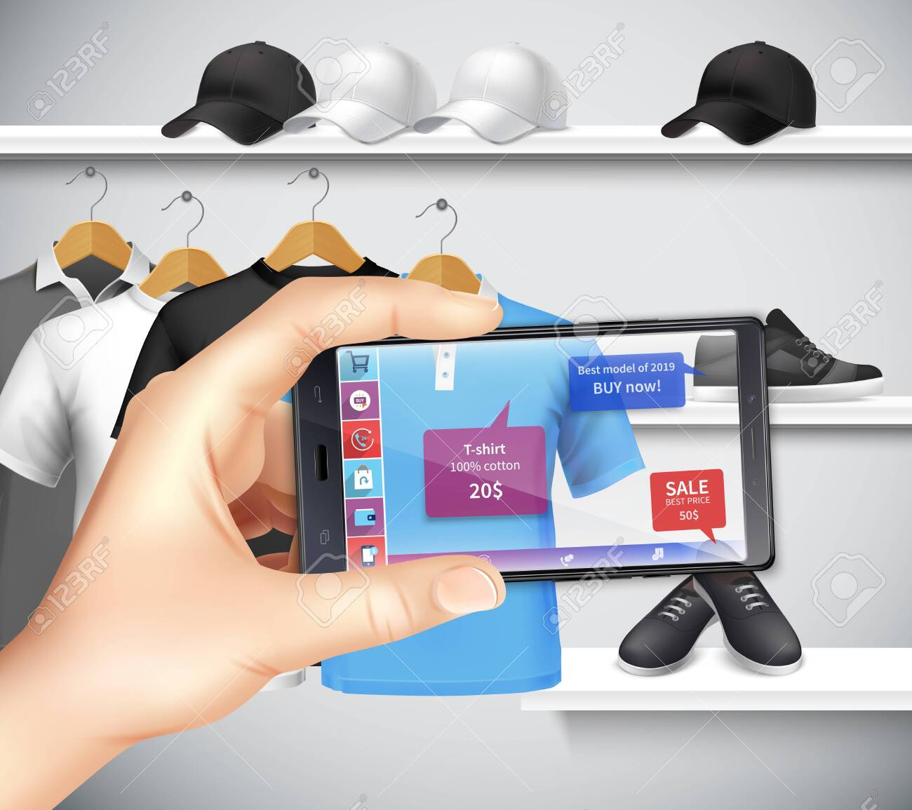 Shopping with virtual and augmented reality apps realistic composition with holding smartphone hand choosing sportswear vector illustration - 128161183