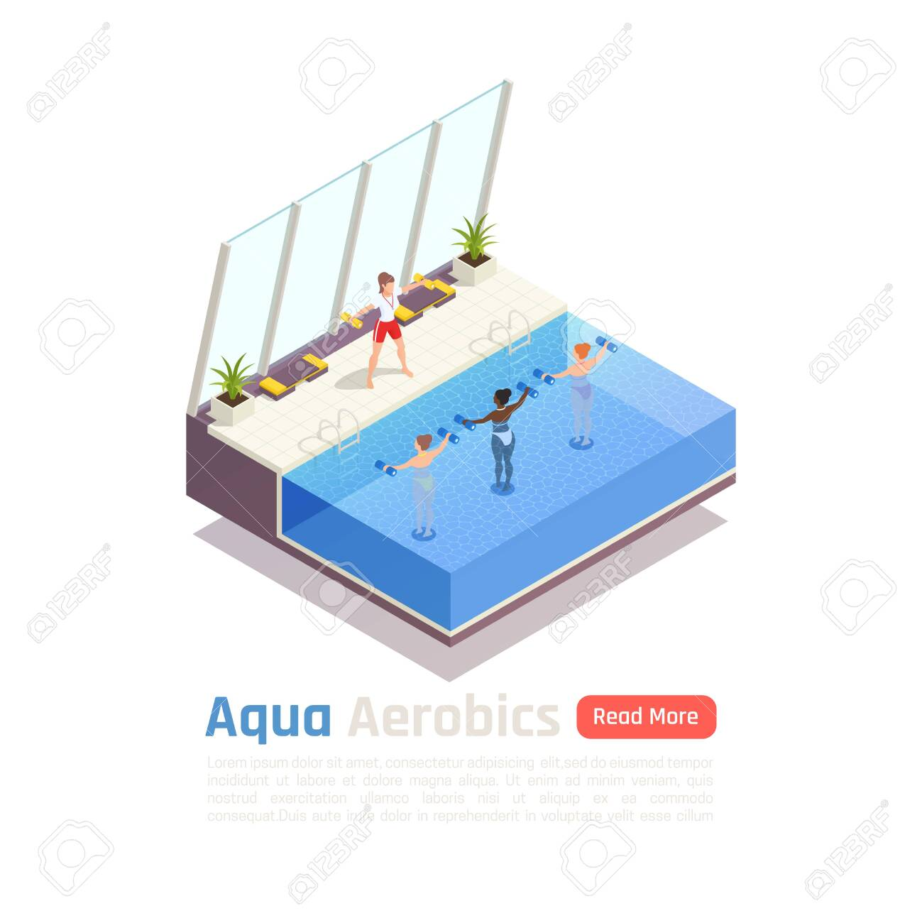 Water aerobic calories burning training isometric composition with aqua dumbbells exercise in modern swimming pool vector illustration - 128161202