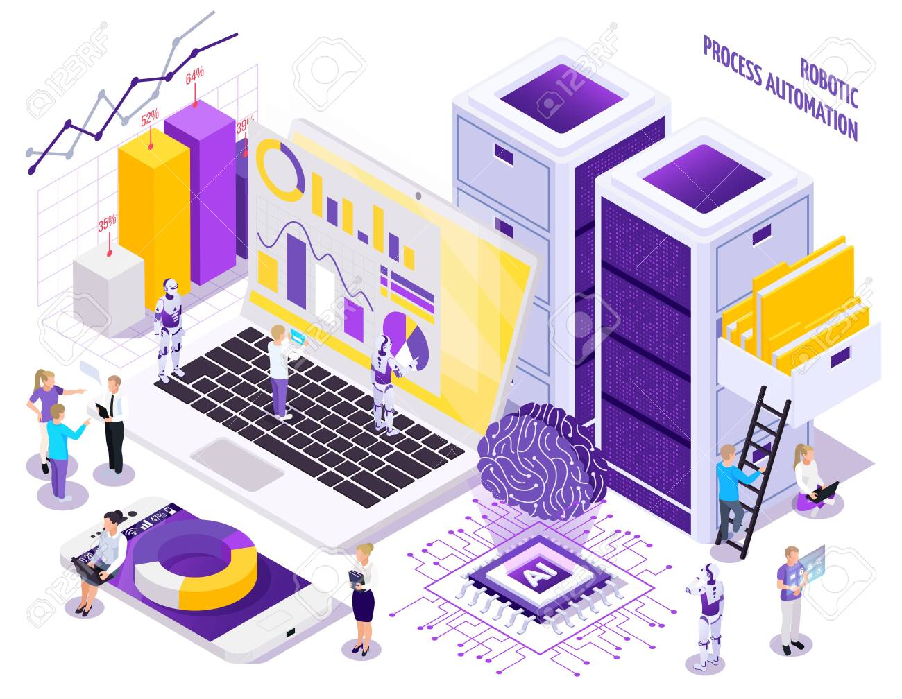 Robotic process automation isometric composition with little human characters and images of office workspace essential elements vector illustration - 128161204
