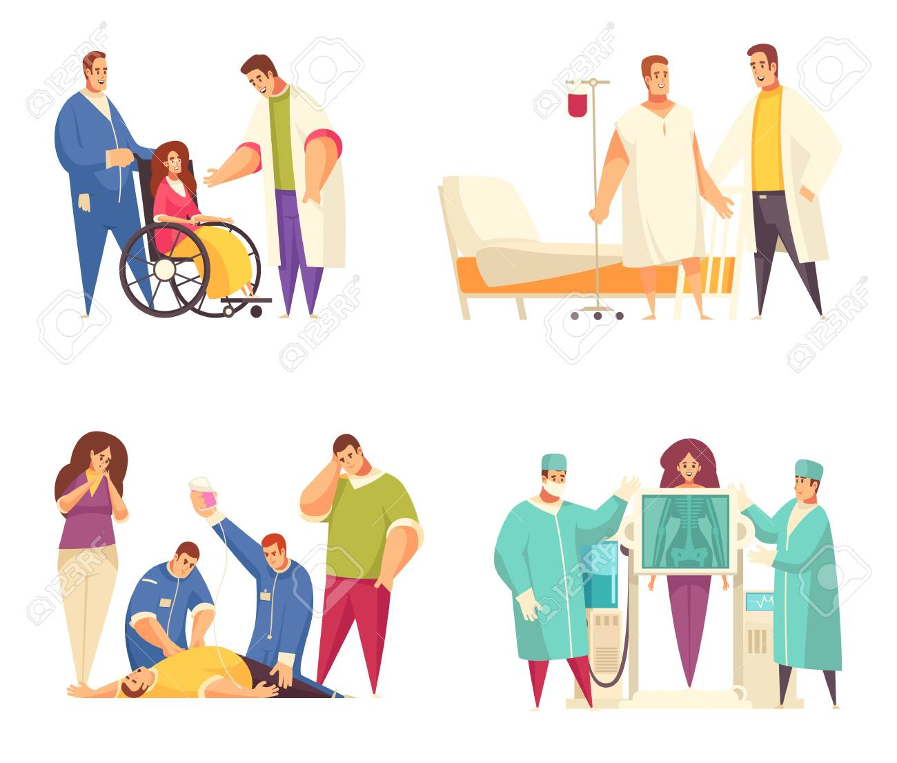 Flat Medical Design Concept Set With Nursing Home Reanimation