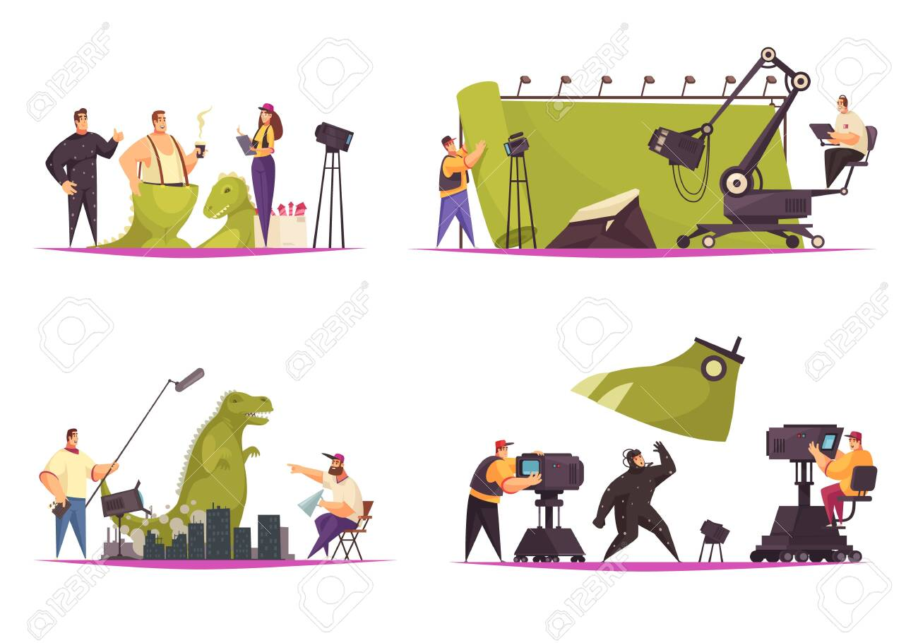 Cinema movie film production concept 4 comic flat compositions with shooting actor in dinosaur costume vector illustration - 128161311
