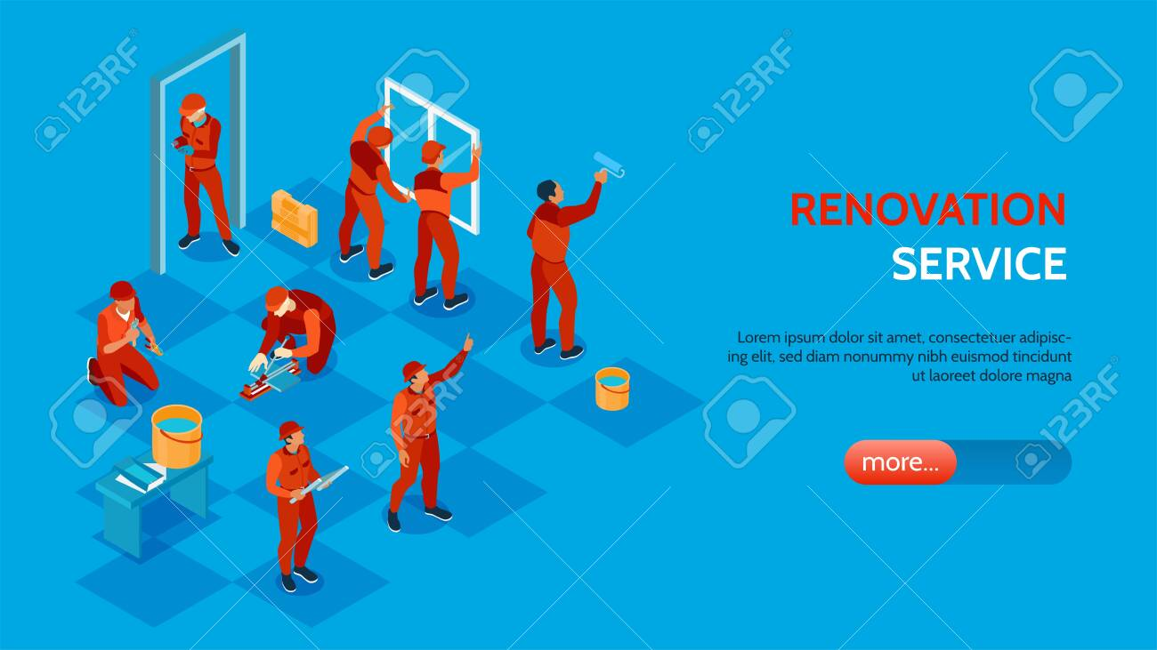 Home repair service isometric horizontal banner with workers installing windows and doors painting laying floor 3d vector illustration - 130188058