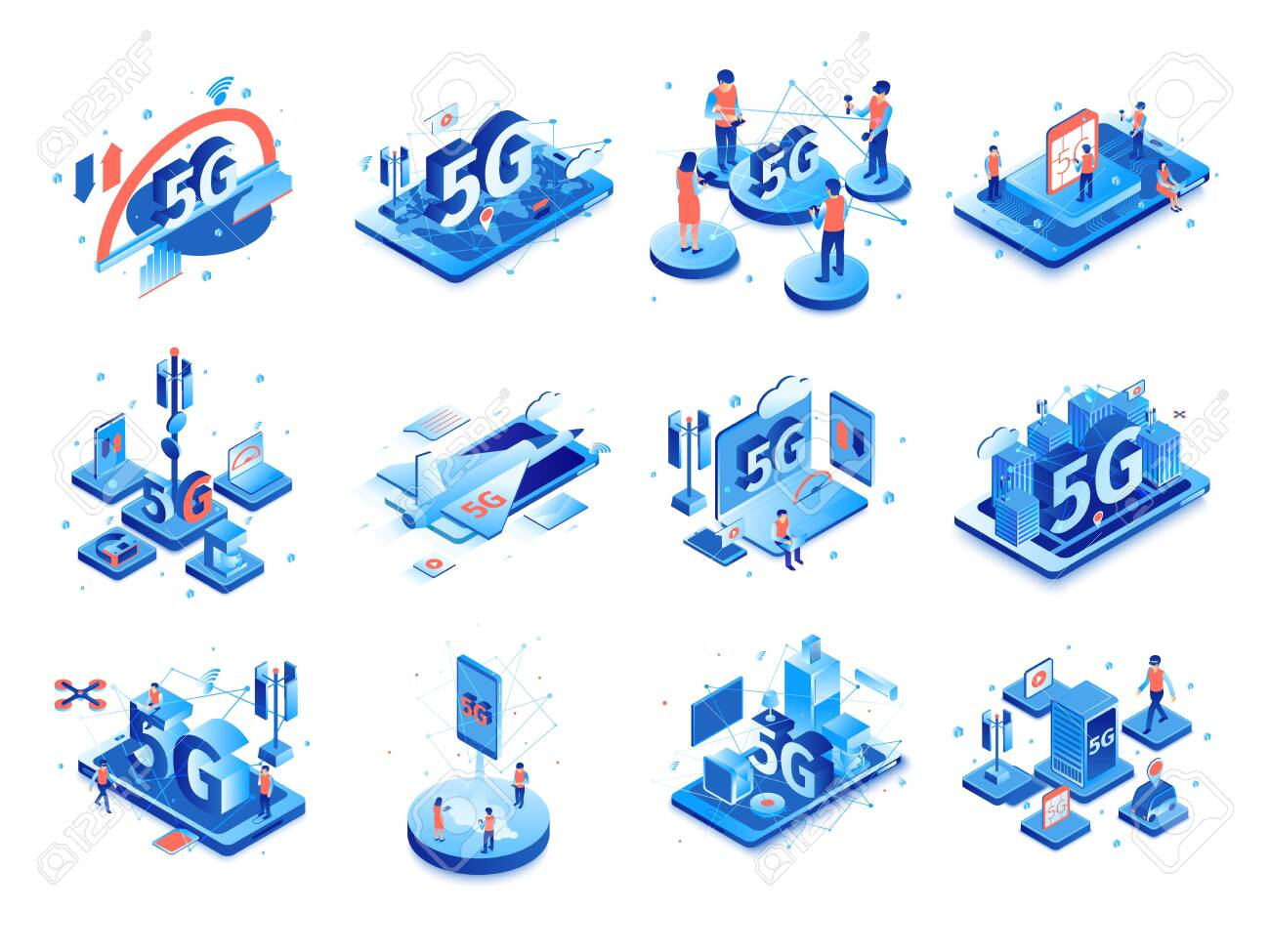 Isometric 5g internet set with isolated compositions of icons pictograms and images of electronic gadgets with people vector illustration - 132728198